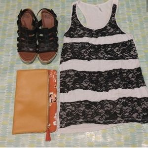 Small white black lace tank top dress shirt